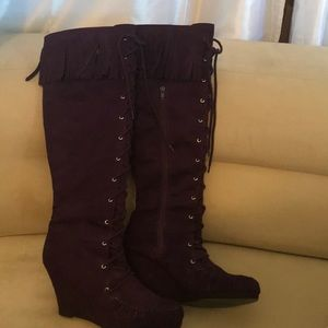 Eggplant purple lace up fringe boots